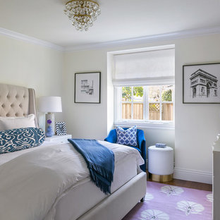 Example of a small transitional guest dark wood floor and brown floor bedroom design in San Francisco with beige walls