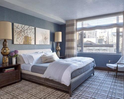Large blue bedroom design ideas renovations photos for Annmarie ruta elegant interior designs