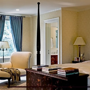 Inspiration for a huge timeless master carpeted and beige floor bedroom remodel in Burlington with multicolored walls and no fireplace