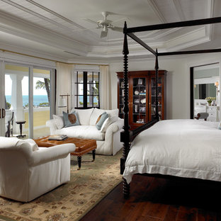 Elegant Dark Wood Floor Bedroom Photo In Miami With White Walls. Save  Photo. Sophisticated Key West Style