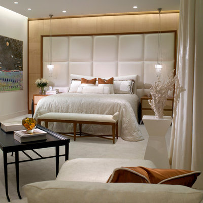 Large trendy master carpeted and white floor bedroom photo in Miami with white walls
