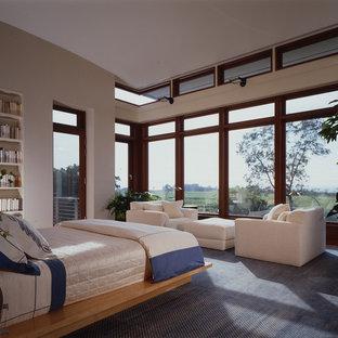 Foto de dormitorio principal, actual, grande, sin chimenea, con paredes beige, moqueta y suelo azul