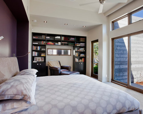 Trendy Master Carpeted Bedroom Photo In San Francisco With Purple Walls