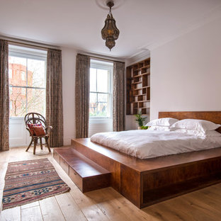 This is an ex&le of a medium sized mediterranean bedroom in London with light hardwood flooring & 75 Most Popular Medium Sized Brown Bedroom Design Ideas for 2018 ...
