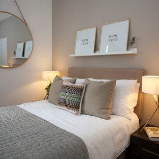 ロンドンの小さいコンテンポラリースタイルのおしゃれな主寝室 (グレーの壁、濃色無垢フローリング、標準型暖炉、漆喰の暖炉まわり、茶色い床) のレイアウト
