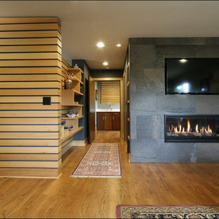 Example of a large eclectic master medium tone wood floor and brown floor bedroom design in Portland with gray walls, a ribbon fireplace and a tile fireplace