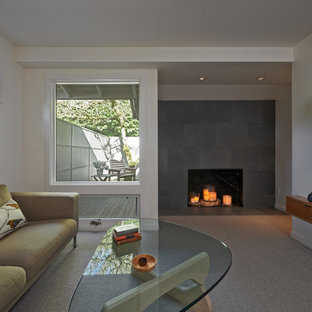 Bedroom - mid-sized modern master carpeted bedroom idea in Portland with white walls, a standard fireplace and a tile fireplace