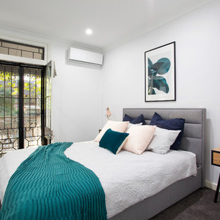 This is an example of a contemporary master bedroom in Sydney with carpet, grey walls, grey floor and no fireplace.
