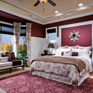 Example Of A Clic Carpeted Bedroom Design In Other With Purple Walls