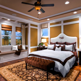Inspiration for a timeless dark wood floor and brown floor bedroom remodel in Other with brown walls