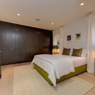 Imagen de habitación de invitados contemporánea, de tamaño medio, sin chimenea, con paredes blancas y suelo de linóleo