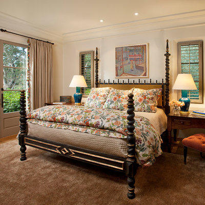 Inspiration for a mediterranean bedroom remodel in Santa Barbara with white walls