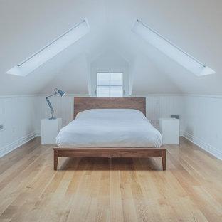 Mid-sized scandinavian loft-style bedroom in Toronto with white walls, medium hardwood floors, no fireplace and brown floor.