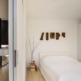 Modelo de dormitorio minimalista con paredes blancas