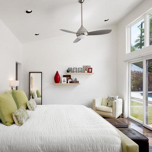 ceiling fans for bedrooms. Inspiration for a contemporary dark wood floor bedroom remodel in Austin  with white walls Ceiling Fan Houzz