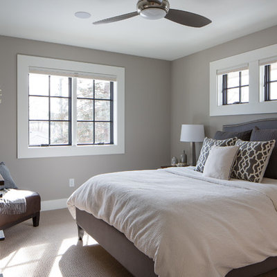 Inspiration for a transitional carpeted and beige floor bedroom remodel in Minneapolis with gray walls