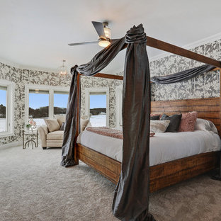 traditional bedroom design.  Traditional Inspiration For A Timeless Carpeted And Gray Floor Bedroom Remodel In Other  With Standard Fireplace Inside Traditional Bedroom Design