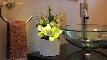 Spring Tulips - Green in White Ceramic Vase