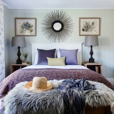 Large transitional guest carpeted bedroom photo in Sydney with green walls
