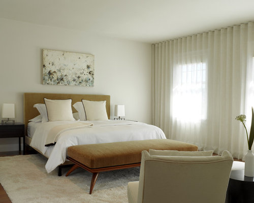 Beautiful Inspiration For A Contemporary Medium Tone Wood Floor Bedroom Remodel In  San Francisco With White Walls