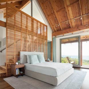 ポートランド(メイン)の大きいコンテンポラリースタイルのおしゃれな主寝室 (白い壁、無垢フローリング、標準型暖炉、石材の暖炉まわり、茶色い床) のレイアウト