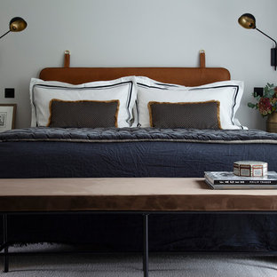 Design ideas for a classic bedroom in London with grey walls, carpet and grey floors.