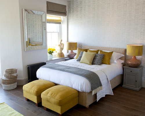 This Is An Example Of A Beach Style Bedroom In Cornwall With Grey Walls Medium