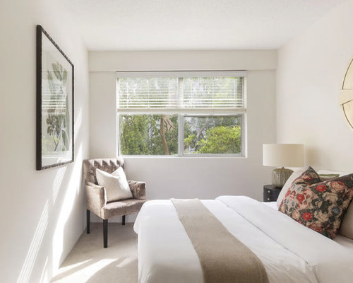 master bedroom. Design Ideas For A Transitional Master Bedroom In Sydney With White Walls, Carpet, No