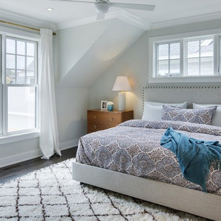 Bedroom - mid-sized transitional dark wood floor bedroom idea in Minneapolis with gray walls and no fireplace
