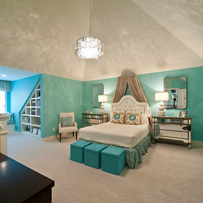 Elegant carpeted bedroom photo in Louisville with blue walls