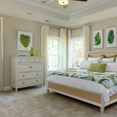 Example of an island style master carpeted and gray floor bedroom design in Other with beige walls