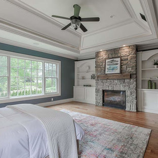 Bedroom - large transitional master medium tone wood floor and brown floor bedroom idea in New York with blue walls, a standard fireplace and a stone fireplace
