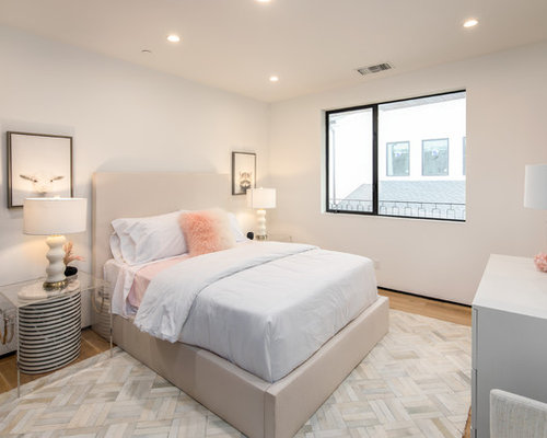Decorate Bedroom Ideas. Trendy medium tone wood floor and brown bedroom photo in Los Angeles  with white walls Top 100 Contemporary Bedroom Ideas Decoration Pictures Houzz