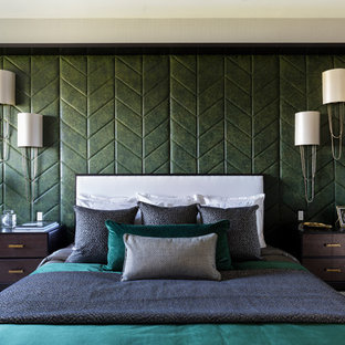 Inspiration for a medium sized classic master bedroom in London with grey walls and grey floors.