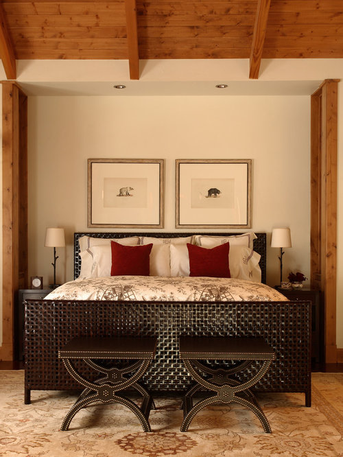 Rustic bedroom idea in Denver with beige walls & End Of Bed Stool | Houzz islam-shia.org