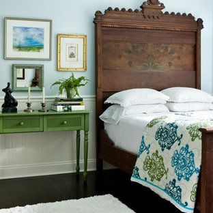 Inspiration for an eclectic bedroom remodel in Atlanta with blue walls