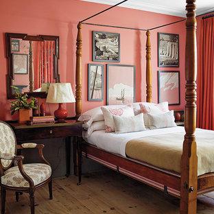 ニューヨークのコンテンポラリースタイルのおしゃれな寝室 (ピンクの壁) のインテリア