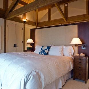 Inspiration for a coastal bedroom remodel in San Francisco with beige walls