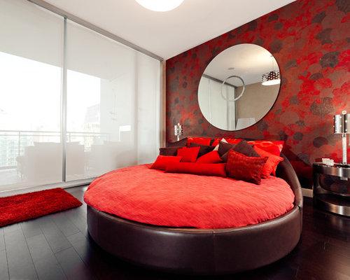 red bedroom design ideas remodels photos with dark hardwood floors