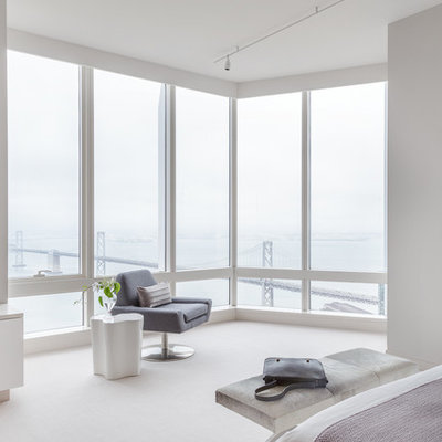 Bedroom - large contemporary master laminate floor and white floor bedroom idea in San Francisco with white walls and no fireplace