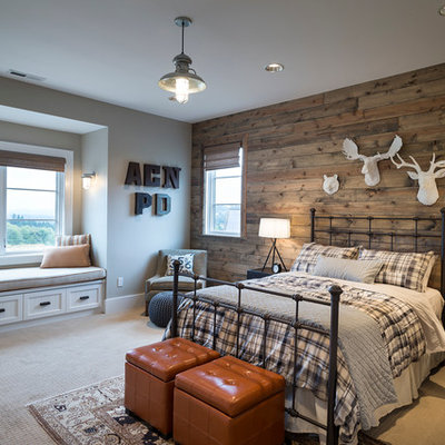 Trendy carpeted bedroom photo in Portland with brown walls