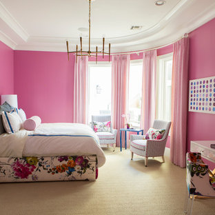 Large transitional carpeted and beige floor bedroom photo in Phoenix with pink walls