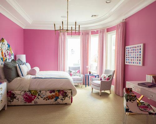 schlafzimmer mit teppichboden und rosa wandfarbe ideen design bilder houzz. Black Bedroom Furniture Sets. Home Design Ideas