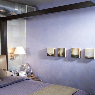 Design ideas for a small industrial loft-style bedroom in Phoenix with purple walls.