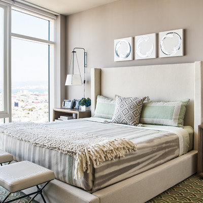 Bedroom - contemporary master carpeted bedroom idea in San Francisco with brown walls