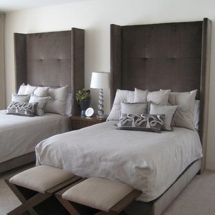 Design ideas for a transitional bedroom in Minneapolis with white walls, carpet and grey floor.