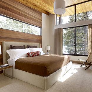 Esempio di una camera da letto minimalista con pareti bianche e moquette
