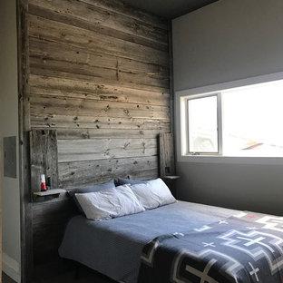 Foto de habitación de invitados rural, de tamaño medio, con paredes grises, moqueta y suelo gris