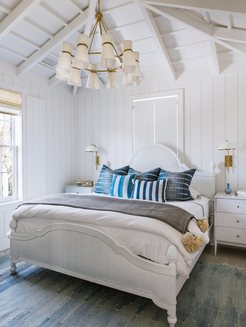 beach style bedroom idea in charleston with white walls