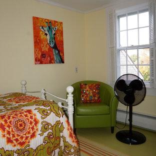 Inspiration for an eclectic green floor bedroom remodel in Boston